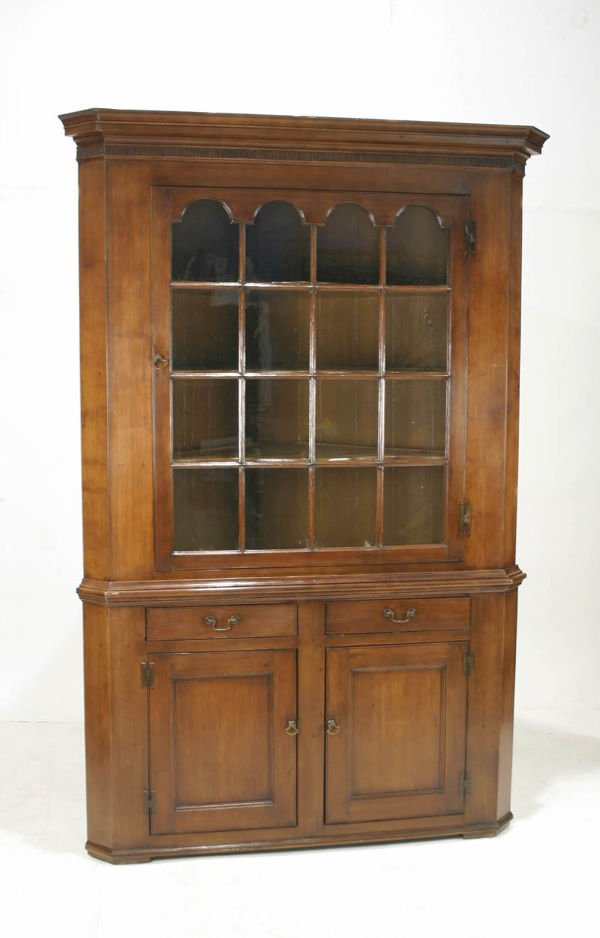 015: American Walnut Pennsylvania Dutch Corner Cabinet
