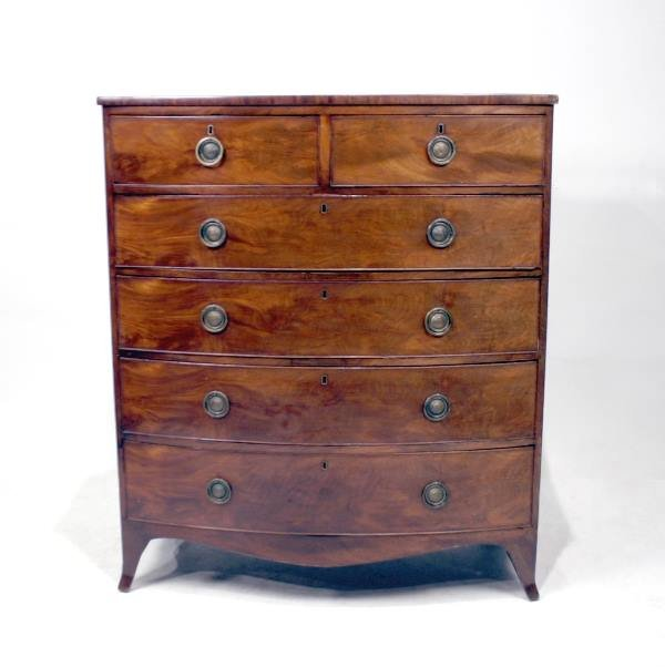 018: English Bow Front Sheraton Six Drawer Tall Chest