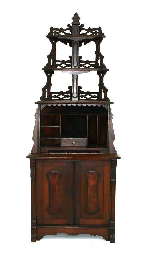 1: American Victorian Renaissance Walnut Corner Cabinet