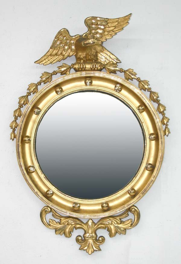 3: Antique Gilded Convex Mirror with Eagle