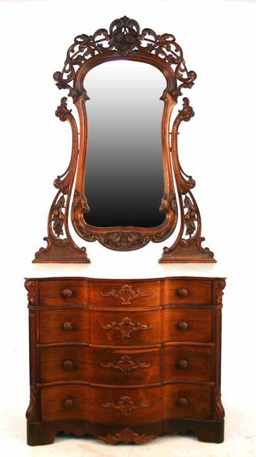 4: American Victorian Rosewood Rococo Dresser