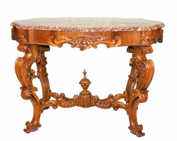 6: American Victorian Marble Top Center Table
