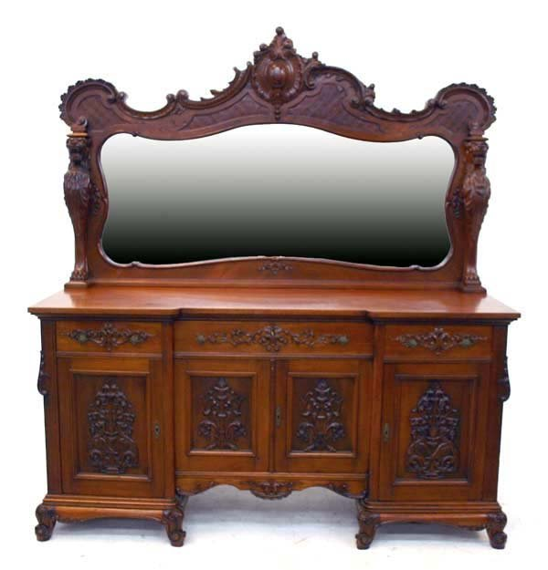 8: American Victorian Griffin Carved Sideboard