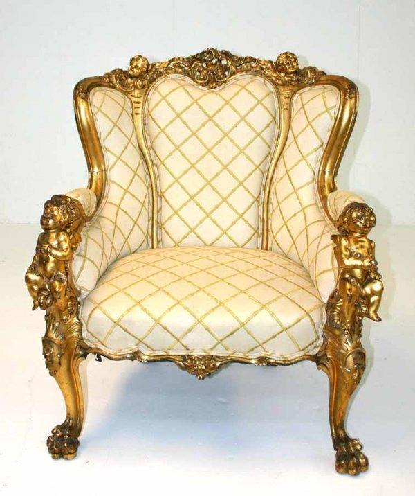 9: French Gilt Art Nouveau Cherub Arm Chair