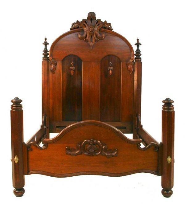 12: American Victorian Rococo Walnut Bed