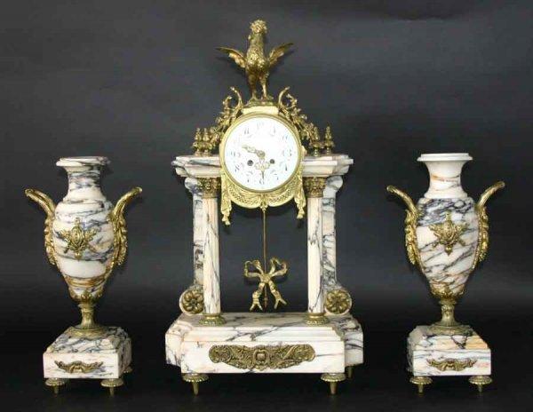 17: French Empire Marble & Gilt Bronze Clock Set
