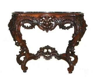 167: Victorian Rococo Marble Top Console Table