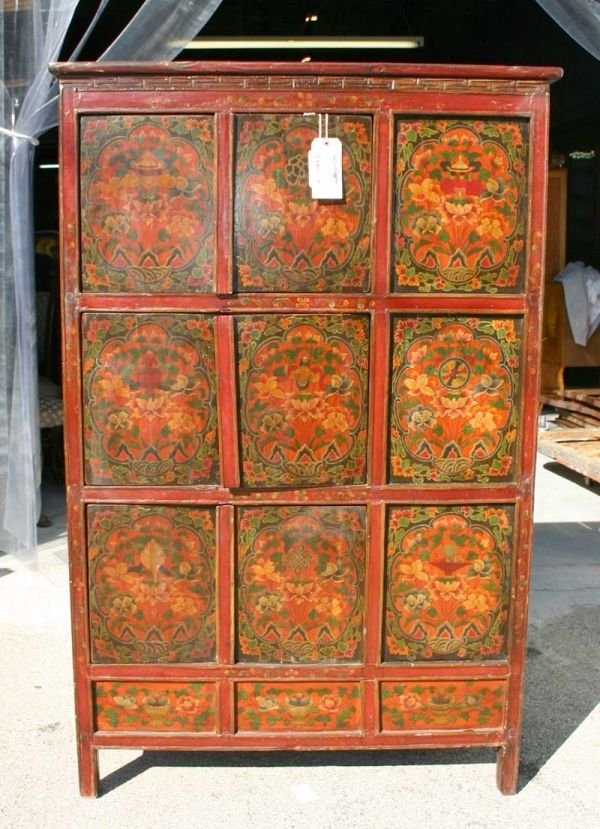 507A: Oriental Hand Made Paint Decorated Cabinet