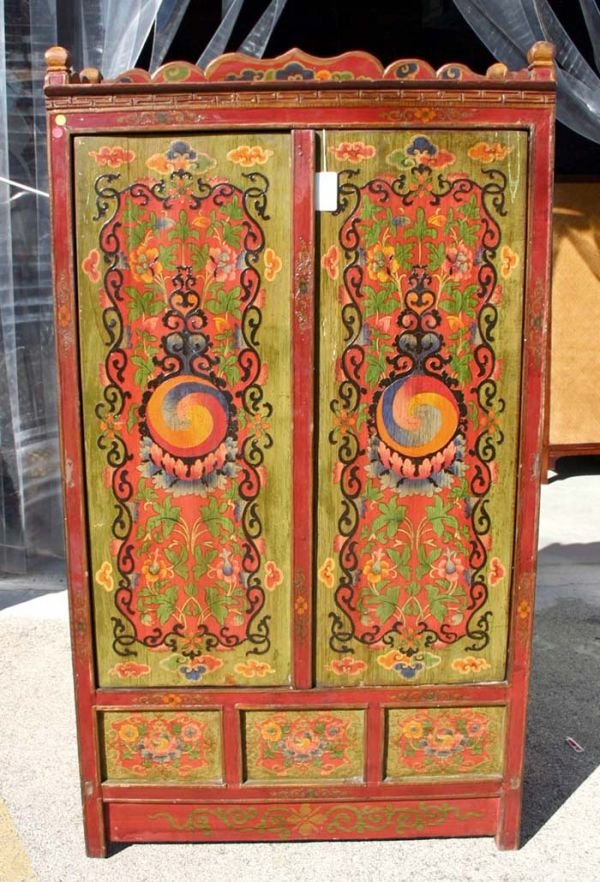 """512A: Oriental Two Door """"Ying Yang"""" Cabinet"""