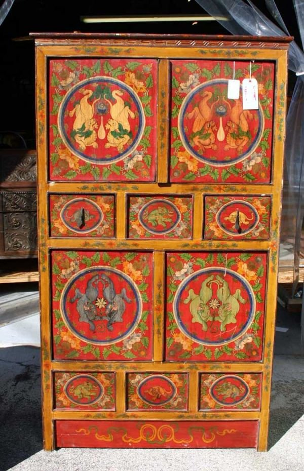 518A: Oriental Hand Made Paint Decorated Cabinet