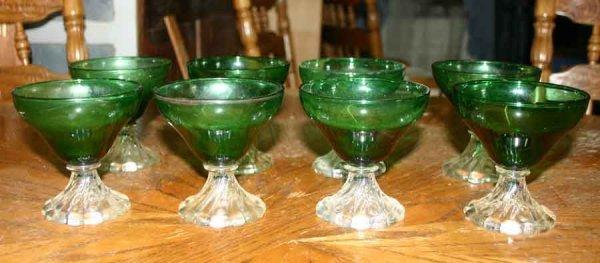 1016: Eight Green Glass Sherberts