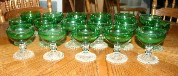 1017: Seventeen Green Wine Glasses