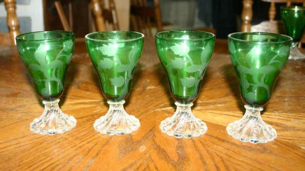 1019: Four Etched Green Glasses