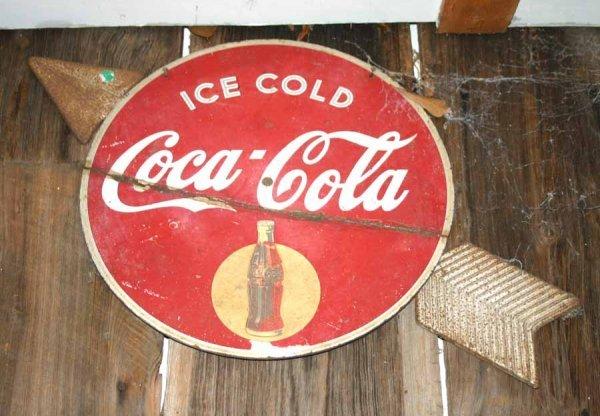 1064: Vintage Coca-Cola Arrow Sign