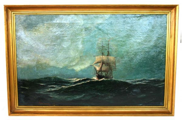 3: Oil on Canvas Seascape Painting by Edward Hover