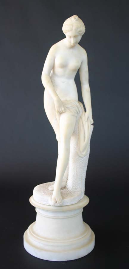 6: 19th c. Marble Statue of Nude Lady on Plinth