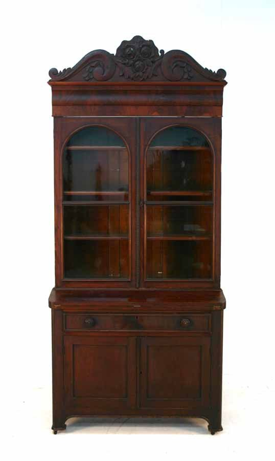 13: American Early Victorian Mahogany Secretary