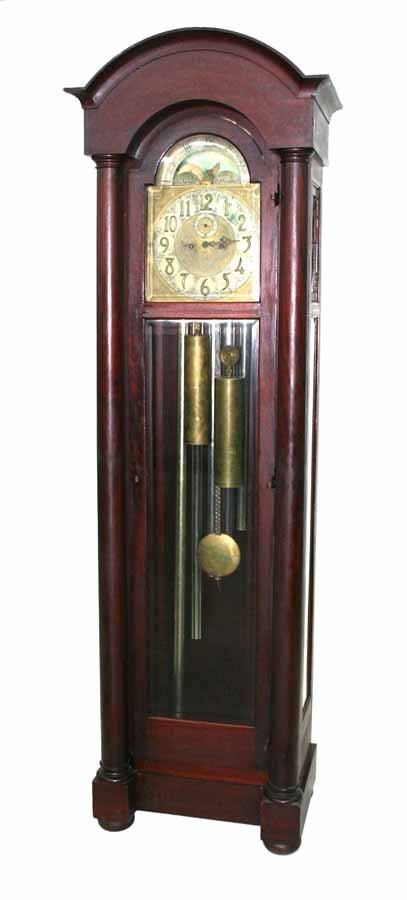 17: Empire Revival Mahogany Grandfather Clock