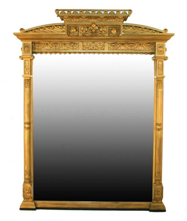 20: Gilt Carved Renassaince Over Mantle Mirror