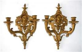 Pr Victorian Louis XV Style Bronze Wall Sconces