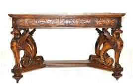 129A: RJ Horner Oak Griffin Carved Partners Desk