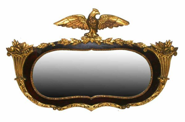 5: Antique Mahogany & Gilt Over Mantle Mirror