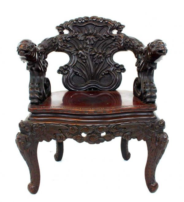 11: Antique Oriental Armchair with Fish Carved Arms and