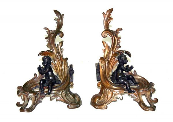 13: Pair of Antique Louis XV Style Gilt-Bronze Chenets