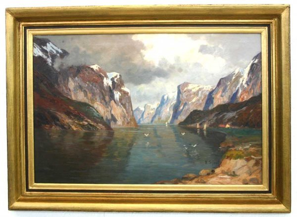 "14: ""Alpine Lake Landscape"" Oil on Canvas Painting by K"