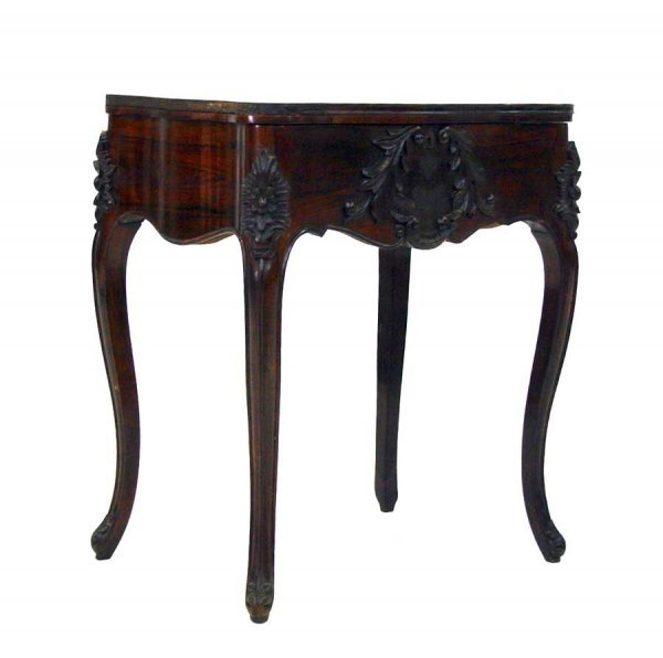 17: Victorian Rococo Revival Rosewood Lift Top Sewing T