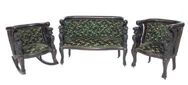 41 Griffin Carved Mahogany Art Nouveau 3Piece Parlor