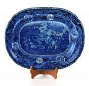 56: Dark Blue Historical Pattern Staffordshire Platter.
