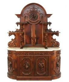64: American Renaissance Revival Marble Top Hunt Board