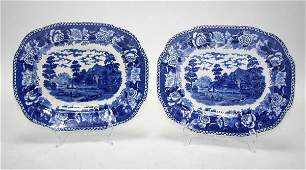 107A: Matching Pair of Blue Historical Pattern Stafford