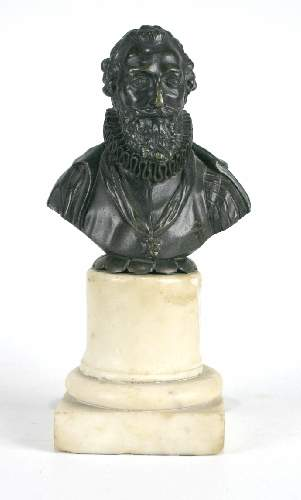 """Shakespeare Bronze Bust on Marble 9""""H"""
