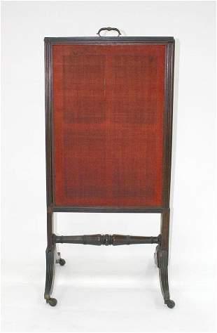 Early Mahogany Empire Fire Screen. Circa 1820