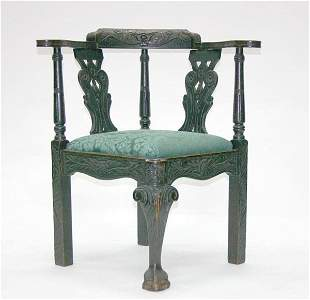 4: English Oak Georgian Corner Chair. Circa 1860