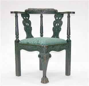 English Oak Georgian Corner Chair. Circa 1860