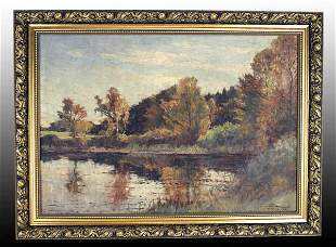 """Oil on Canvas Painting by Carl Wennemoes - """"Autumn"""