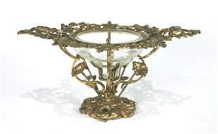 French Bronze & Glass Compote. Circa 1860