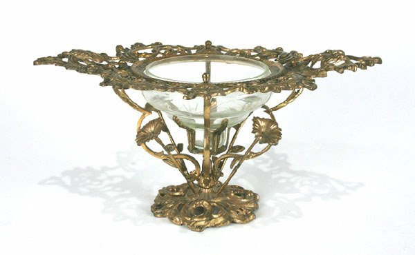 6: French Bronze & Glass Compote. Circa 1860