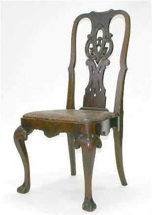 Irish Walnut Queen Ann Sidechair. Circa 1880.