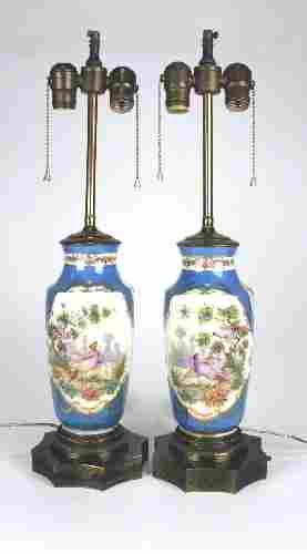 Pair 19th Century Hand Painted Porcelain Vase Lamps