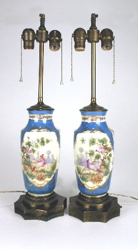 8: Pair 19th Century Hand Painted Porcelain Vase Lamps
