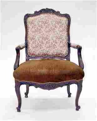 French Louis XV Fauteuil Chair. Circa 1750