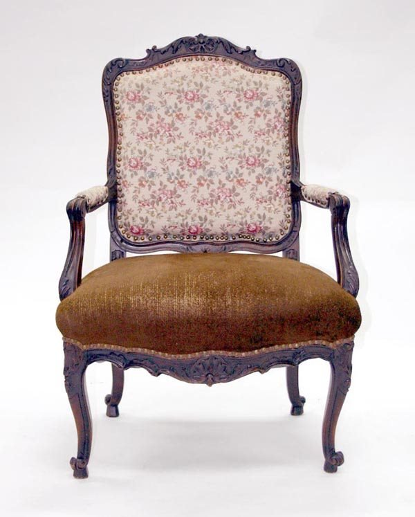 10: French Louis XV Fauteuil Chair. Circa 1750