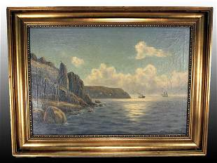 """Oil on Canvas Painting """"A View of the Baltic Sea"""""""