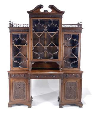 English Chippendale Style Bookcase Breakfront. Circ