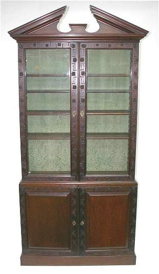 Formal English Mahogany Chippendale Bookcase