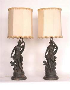 113: Pair Spelter Figural Lamps